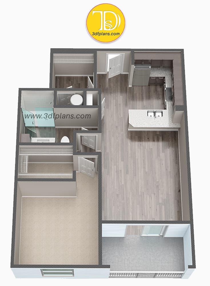 unfurnished 3d floor plan, unfurnished 3d floor plan of the new apartment, unfurnished apartment