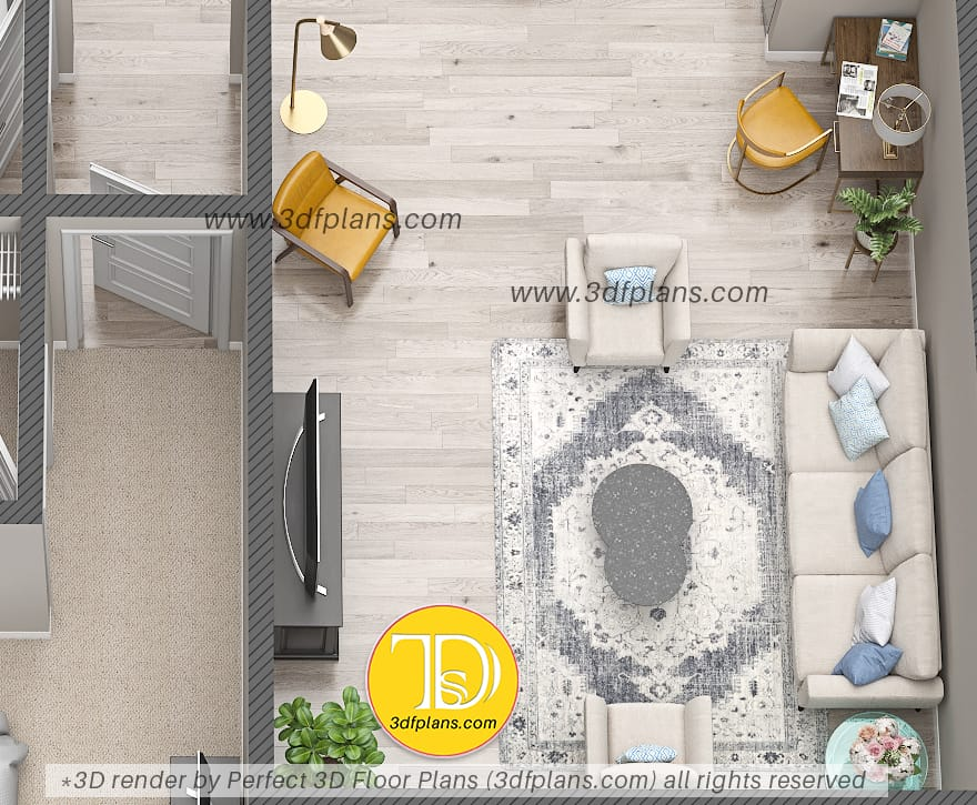 Living room 3d design with a study corner and cozy place for entertainment