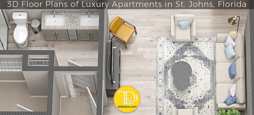 3D Floor Plans of Luxury Apartments in St. Johns, Florida