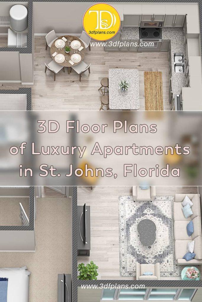 One bedroom luxury apartment 3d floor plan in St. Johns, Florida