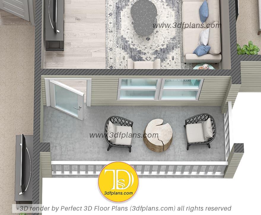 Balcony 3d design and rendering bu 3dfplans.com