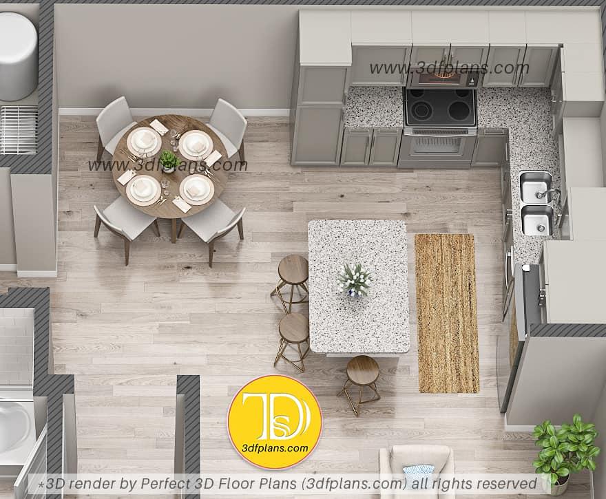 3d floor plan, 3d floor plans, modern kitchen design, apartment design florida