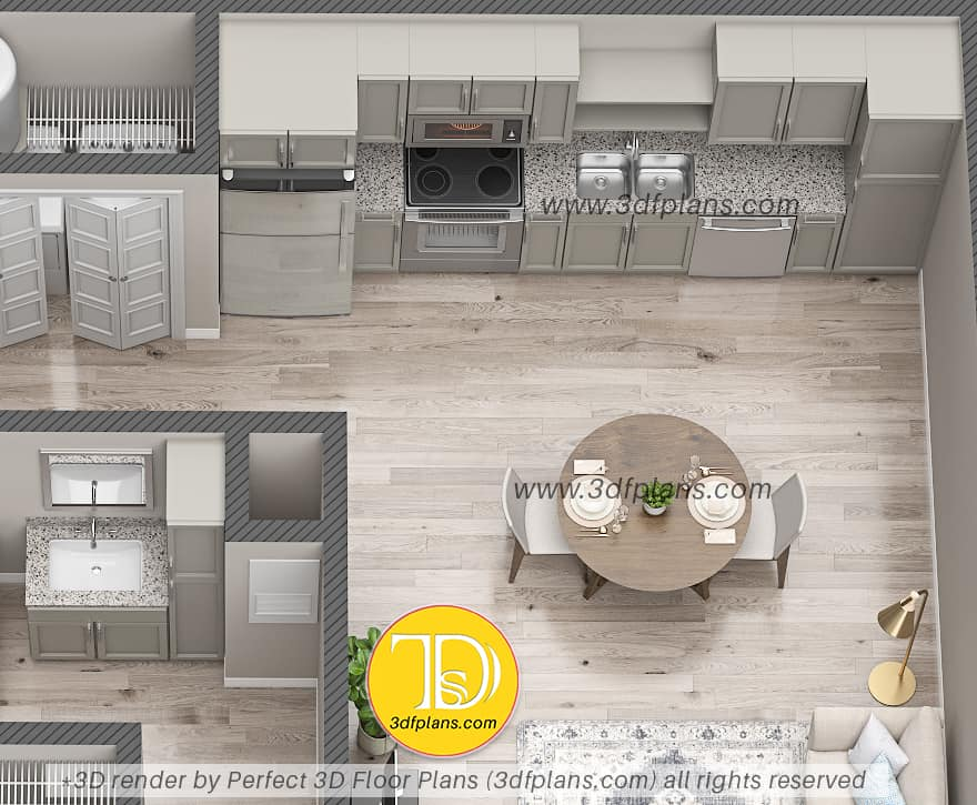 3d floor plan of the kitchen with wood floor and round table for 2 in the middle