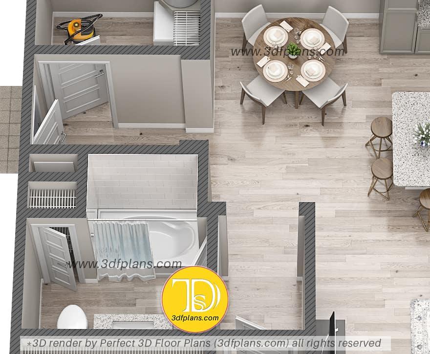 3d floor plan of the bathroom, white tile, oval bath tub