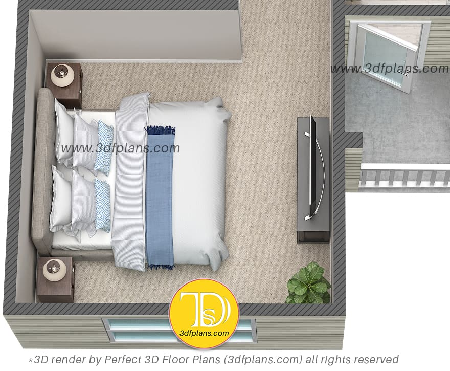 Bedroom 3d floor plan rendering with king size bad, light color pillows, beige carpet and light blue accent color