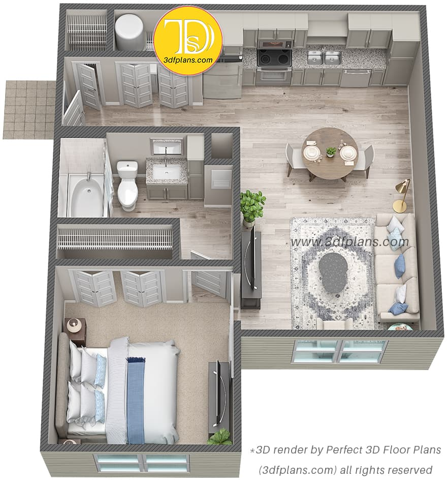 Luxury one bedroom apartment 3d floor plan in St. Johns Florida Property 624 sq.ft.