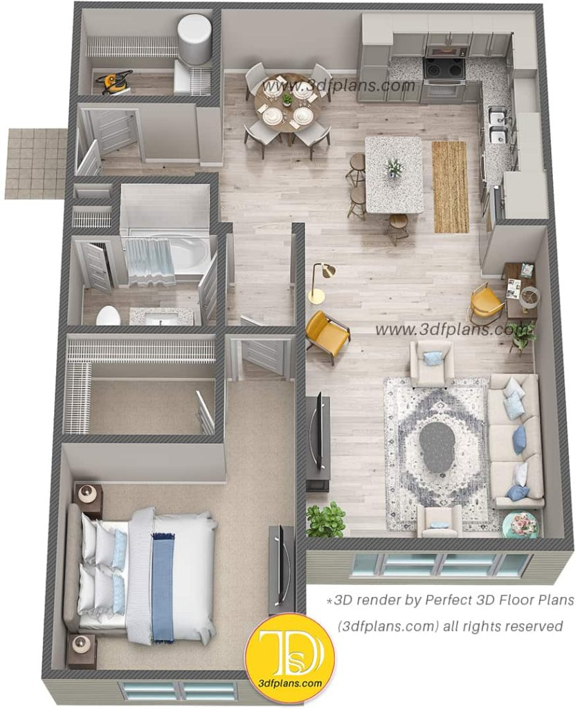 3d floor plan rendering of one bedroom luxury apartment in Florida with wood flooring
