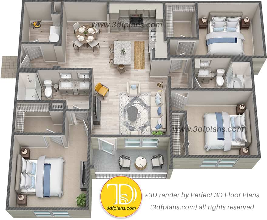 Luxury apartment layout 3d design