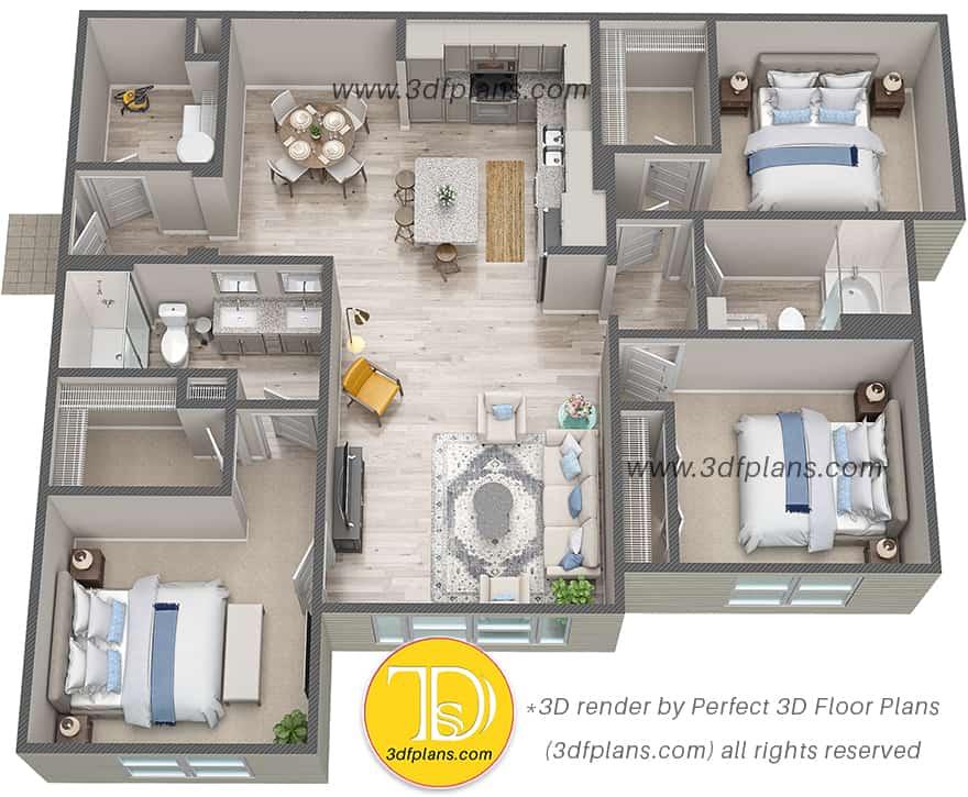 Multifamily property 3d floor plan