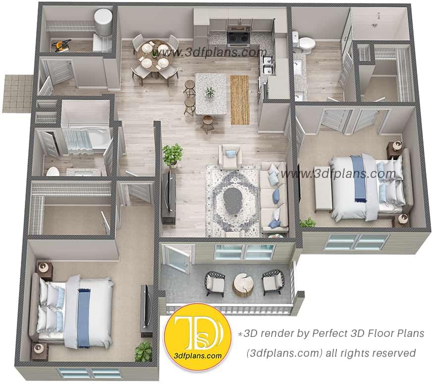 3d floor plan of 2 bedrooms unit in Florida with wood floor and balcony