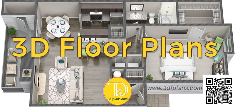 apartment 3d floor plan illustration from the