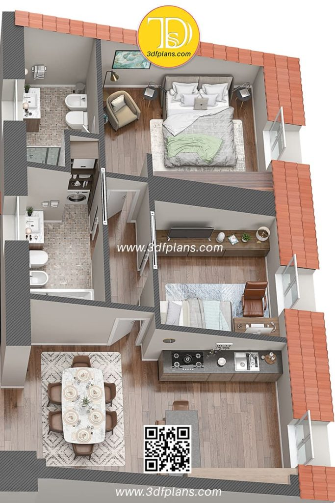 floor plan rendering of italian home, Palazzo Visconti 3D Floor Plan renderings