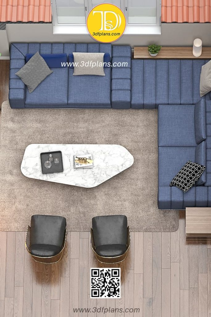 Palazzo Visconti  - Living room 3d floor plan with italian furniture, apartment with the big angle navy color couch
