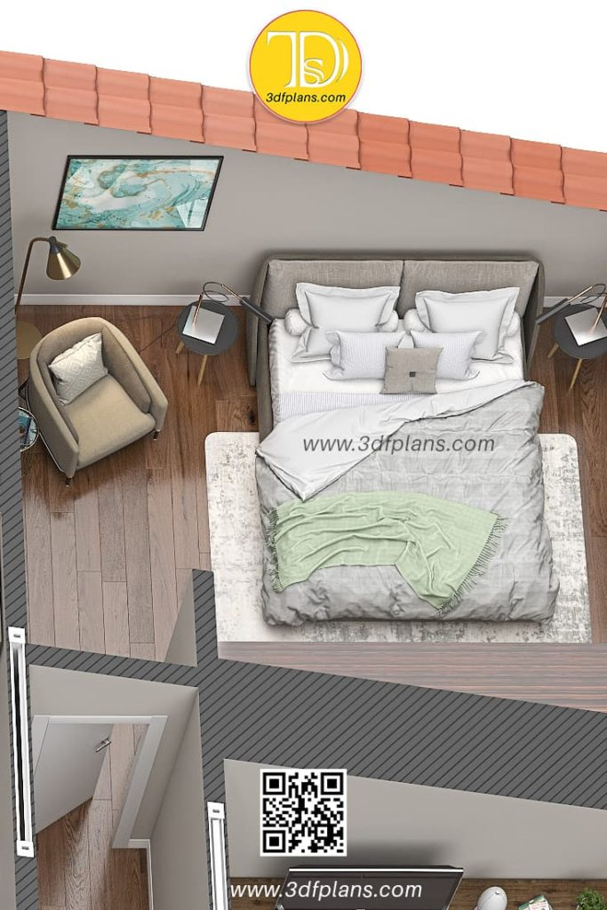 Master bedroom with light beige color palette and comfortable Italian chair for the book reading and relaxing