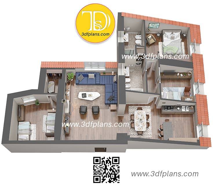 Planimetria italiana casa 3D Palazzo Visconti , Unit under the roof with furniture, Apartment under the roof