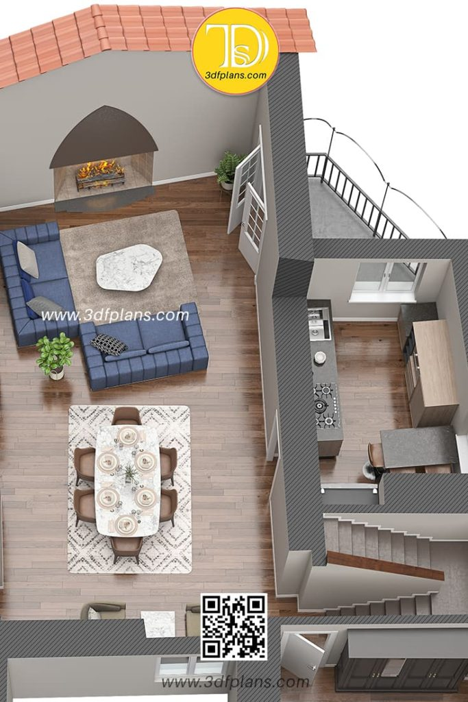 3d floor plan bird view, living room with the big old fireplace and vintage balcony