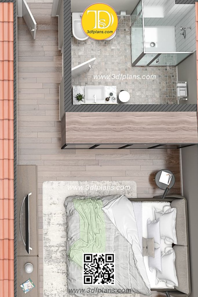 Palazzo Visconti 3D Floor Plan rendering, bedroom with the wardrobe and bathroom, 2nd floor apartment