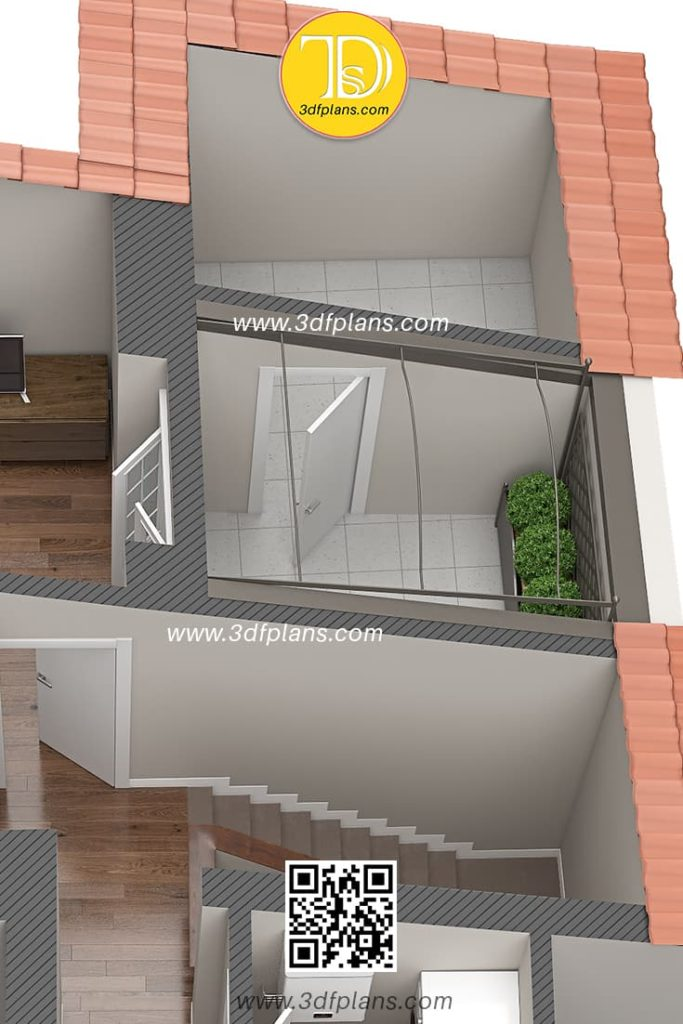 Entrance to the terrace with small garden and storage room, Palazzo Visconti 3D Floor Plan renderings