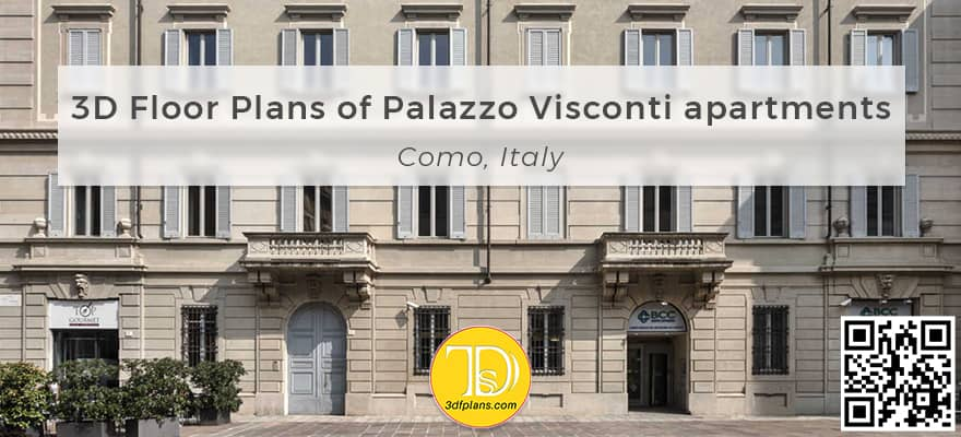 Italy apartment 3d floor plans, Planimetrie 3d a Como, Cpmo Palazzo Visconti 3D Planimetrie, apartment 3d floor plans of historic building in italy