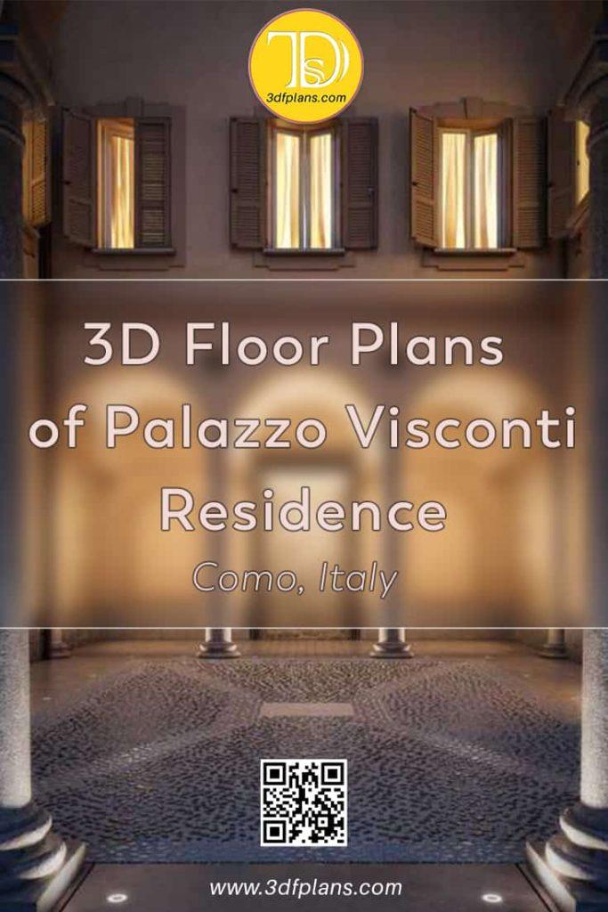 Appartamento 3D planimetrie del vecchio edificio storico italiano a Como