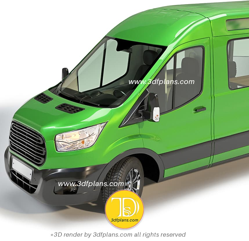 Fort Transit Camper 2020 Van 3D Rendering in green body color