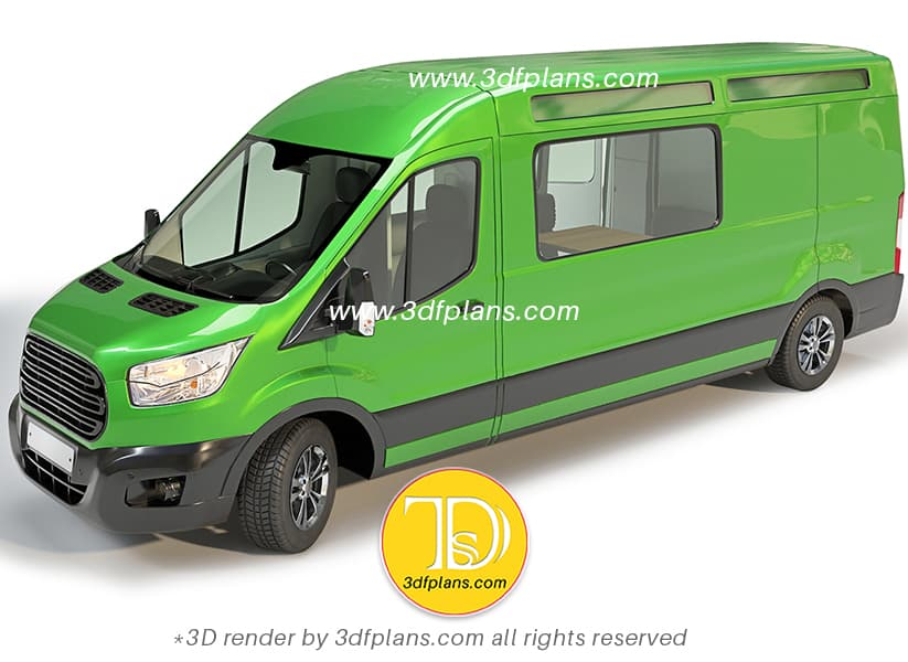 Ford Transit 2020 Camper van green color exterior 3D rendering