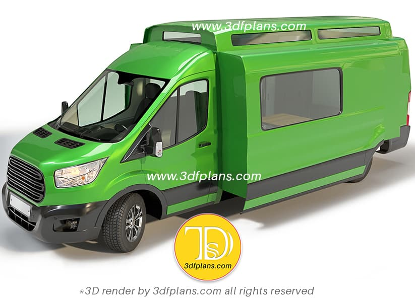 Ford Transit 2020 RV green color exterior 3D rendering with extended interior space