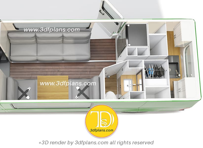 Ford custom layout 3D design with the bath, kitchen, couch with table, sofa and fridge