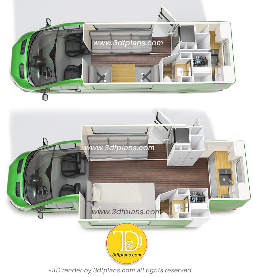 Comparison of two camper van layouts