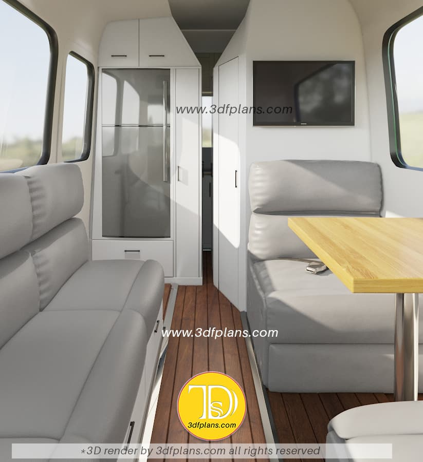 Custom designed motorhome layout based on the ford transit 2020 model with 2 berth