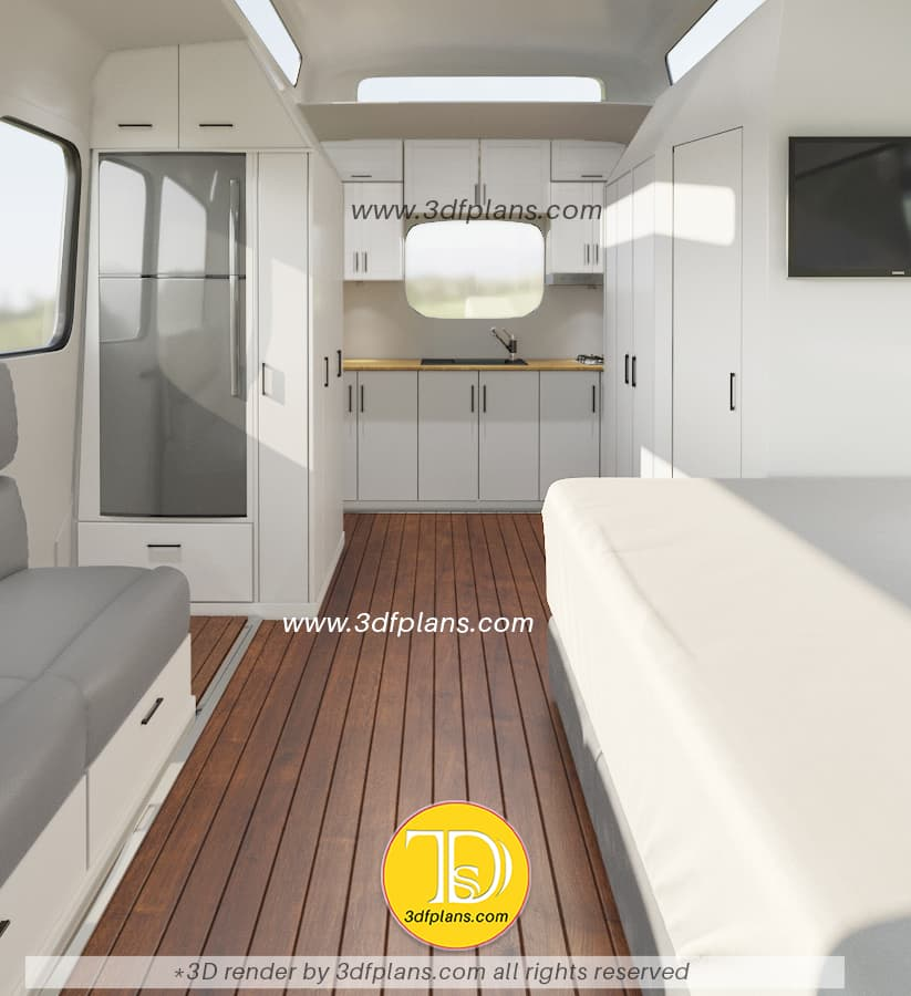 2 berth motorhome design based on the ford transit 2020 model. Camper van with the kitchen, bathroom, toilet, 2 beds and wardrobe
