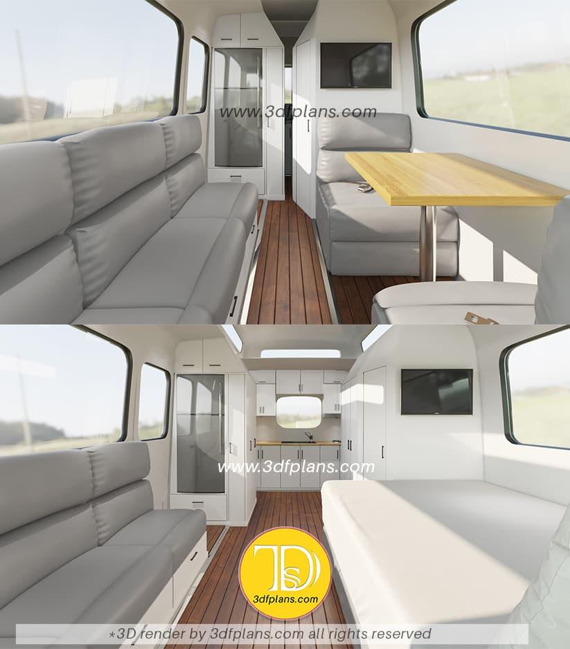 Camper van interior 3d designs
