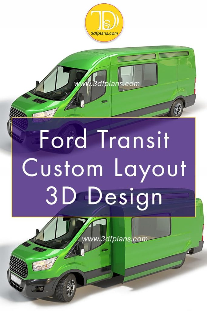 Ford Transit Custom camper van 3d layout design with expanding interior space