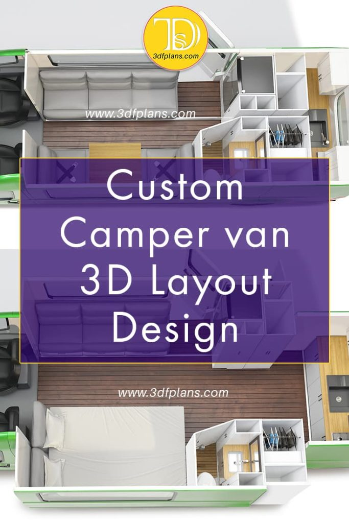 Ford Transit custom 3d layout design bird view, motorhome 3D design layouts
