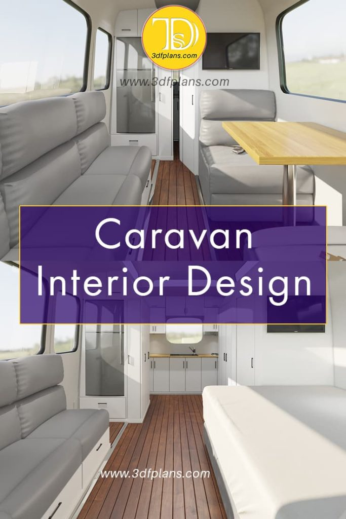 Caravan interior 3D design with custom bed, kitchen and sofas