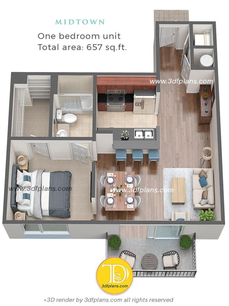 One bedroom 3d floor plan, 1ベッドルーム3Dフロアプラン, Planimetria 3d di una camera da letto, 3D план однокомнаткой квартиры