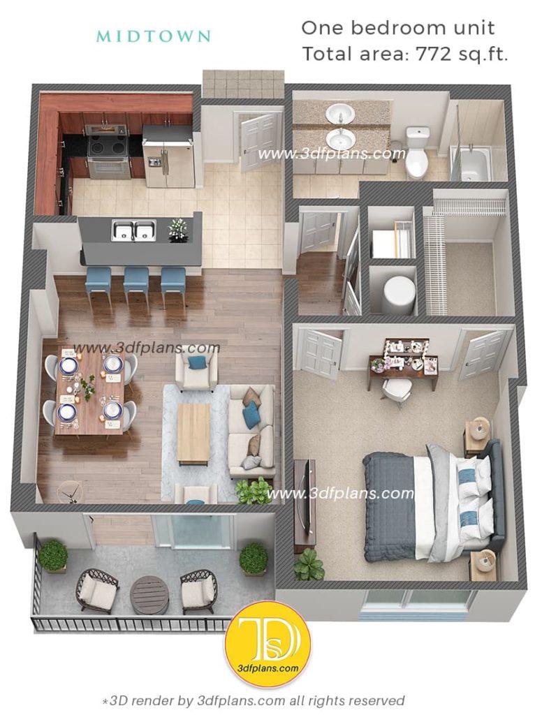one bedroom apartment 3d plan, 3dfplans, Planimetria 3D, 3D-plattegrond, 3d planløsning, 3D Grundriss