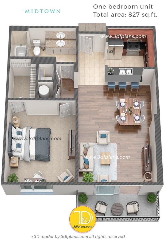 3D планировка однокомнатной квартиры в центре Флориды