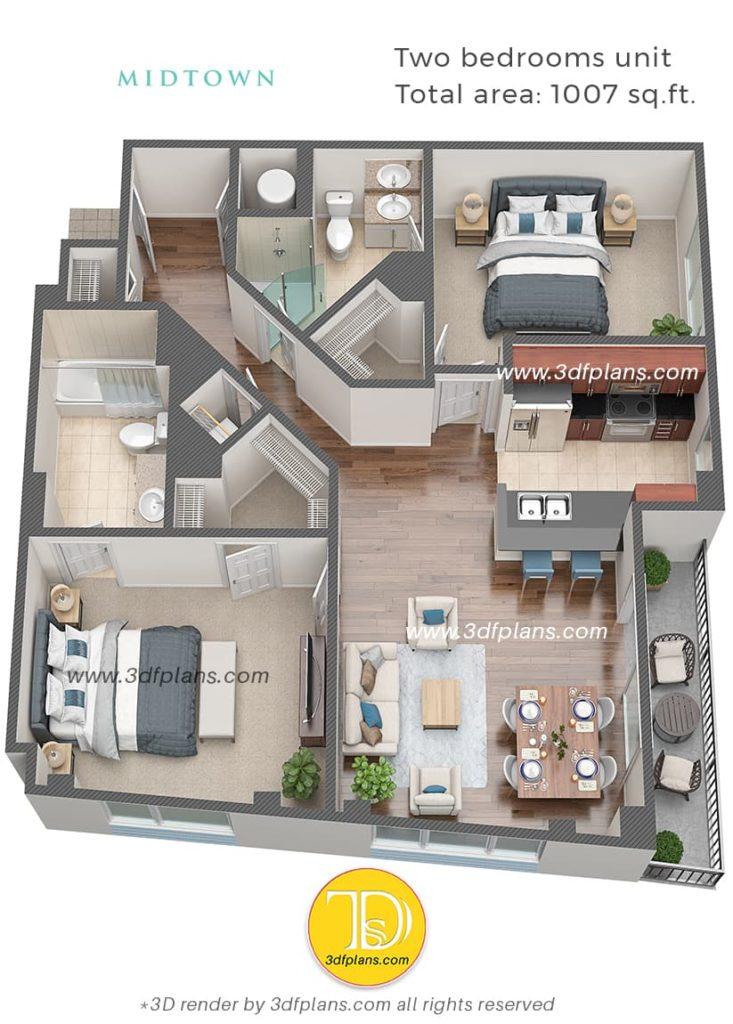 two bedrooms apartment design in florida, best 3d floor plan renderings, 3d floor plans 2020