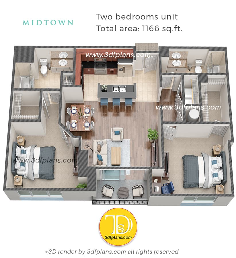 two bedrooms apartment 3d floor plan with study cabinet, blue leather office chair