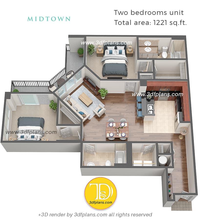 米国フロリダ州の2ベッドルームアパートメントの3Dフロアプランレンダリング、ホームデザイン、インテリアプランニング、3Dレンダリングサービス