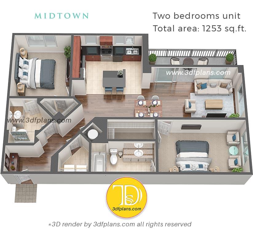 3D-Grundriss-Rendering einer Wohnung mit zwei Schlafzimmern in Florida, USA, Wohndesign, Innenplanung, 3D-Rendering-Service