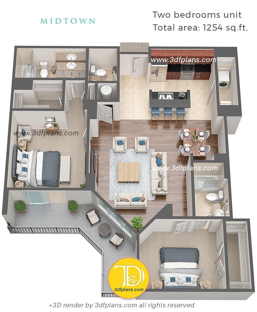 عرض مخطط ثلاثي الأبعاد لشقة من غرفتي نوم في فلوريدا بالولايات المتحدة الأمريكية ، تصميم المنزل ، التخطيط الداخلي ، خدمة الأداء ثلاثي الأبعاد