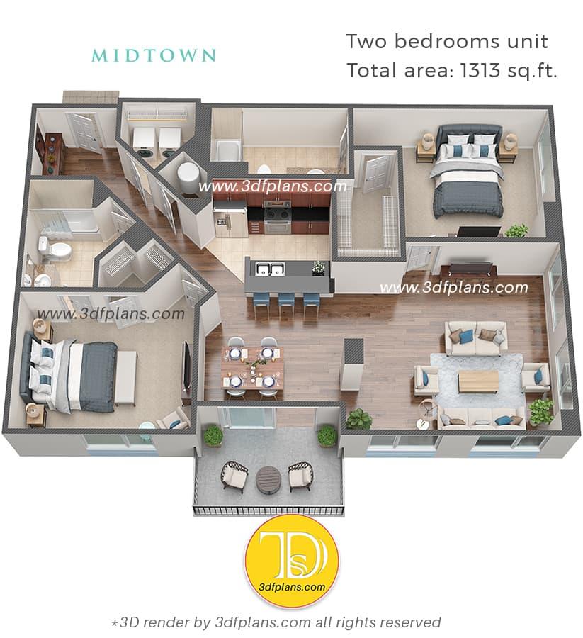Rappresentazione della pianta 3d di un appartamento di due camere da letto in Florida USA, progettazione domestica, pianificazione interna, servizio di rendering 3d