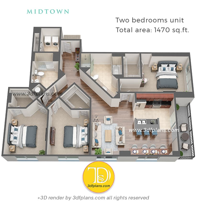 3d floor plan rendering for real estate professionals, 3d plans help you with the marketing and attracting new clients, real estate marketing