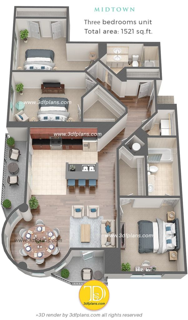 3d floor plan design of the apartment based in Florida USA, 3d renderings for real estate professionals, real estate marketing, round walls