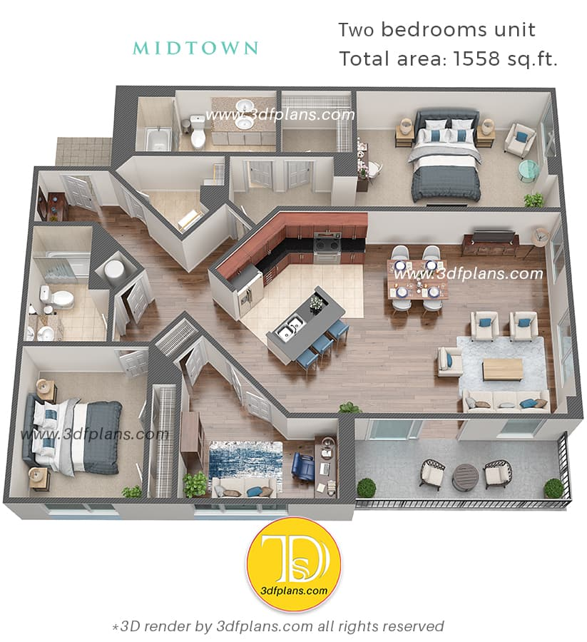 two bedrooms floor plan with cabinet/study and 2 bathrooms