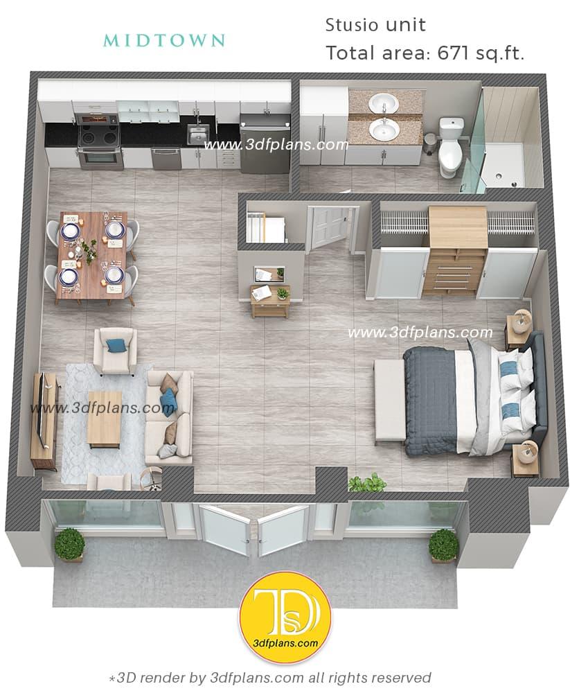 luxury studio 3d floor plan, create a 3d floor plan, studio 3d floor plan, 3d floor plan design
