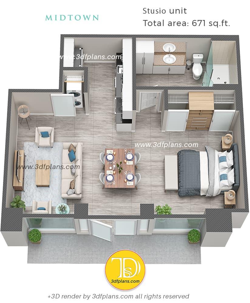 Studio 3d floor plan layout, 3d floor plan price,