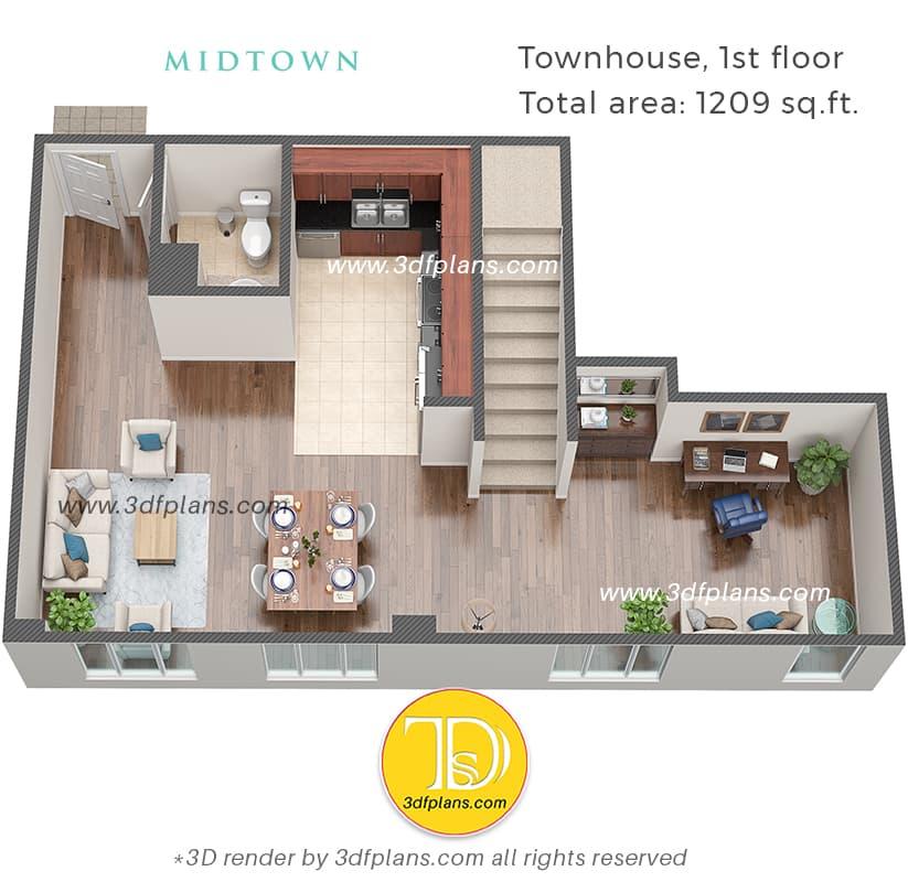 townhouse 3d floor plan, townhouse 3d design, townhouse apartment 3d interior, townhouse design Florida
